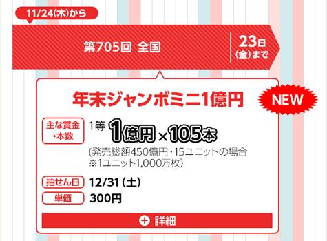 年末ジャンボミニ 宝くじ 当選確率 発売日 2016